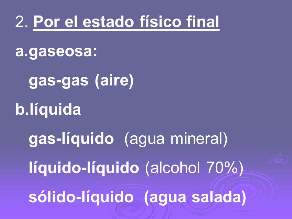 2. Por el estado físico final a.gaseosa: gas-gas (aire) b.líquida gas-líquido (agua mineral) líquido-líquido (alcohol 70%) sólido-líquido (agua salada