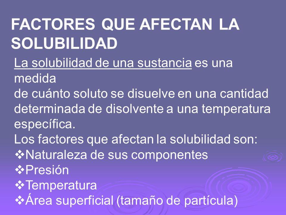 La solubilidad de una sustancia es una medida de cuánto soluto se disuelve en una cantidad determinada de disolvente a una temperatura específica. Los
