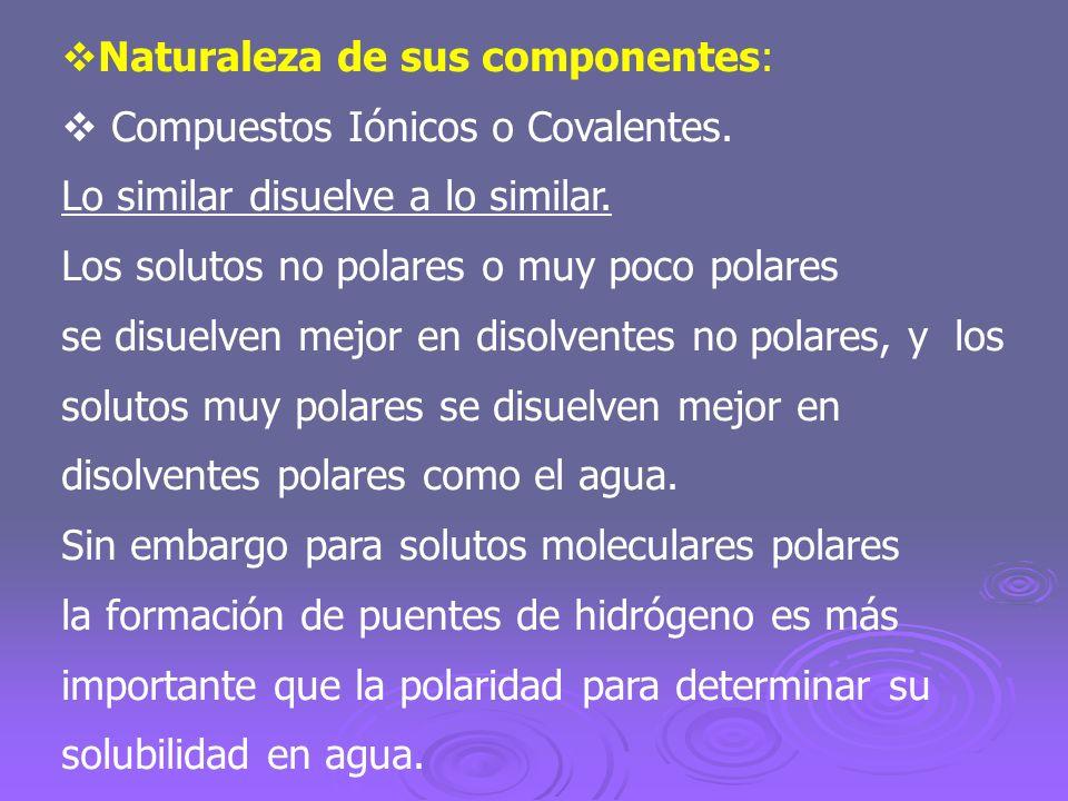 Naturaleza de sus componentes: Compuestos Iónicos o Covalentes. Lo similar disuelve a lo similar. Los solutos no polares o muy poco polares se disuelv