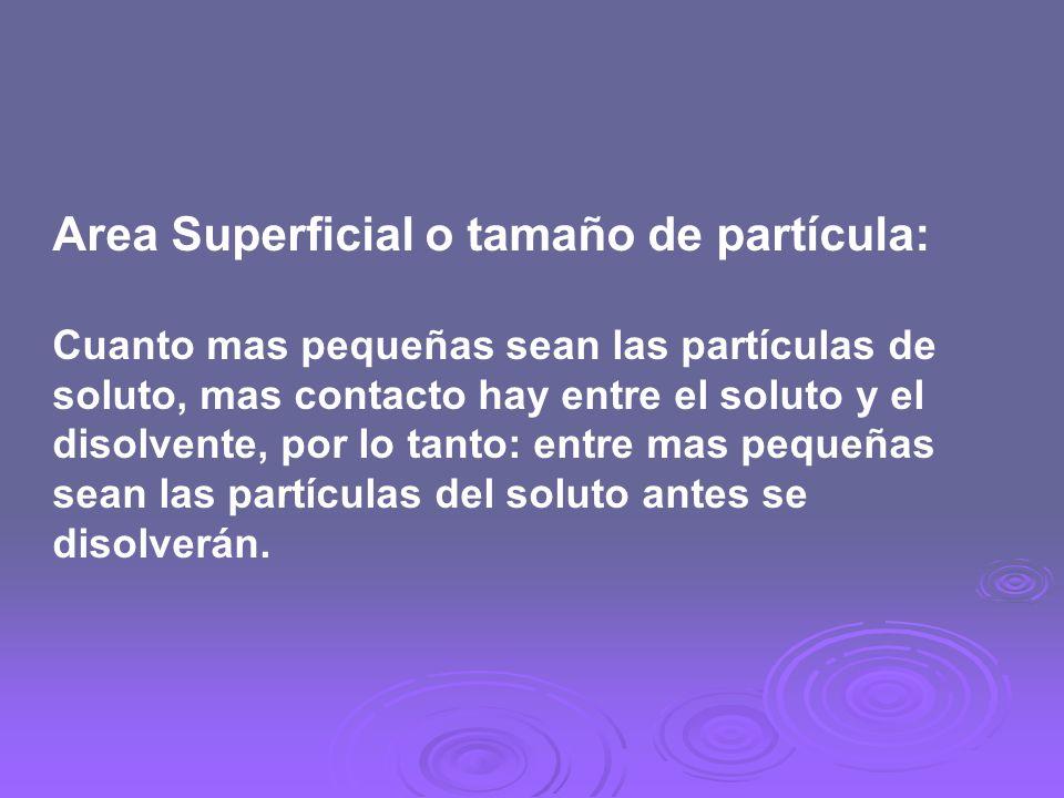 Area Superficial o tamaño de partícula: Cuanto mas pequeñas sean las partículas de soluto, mas contacto hay entre el soluto y el disolvente, por lo ta