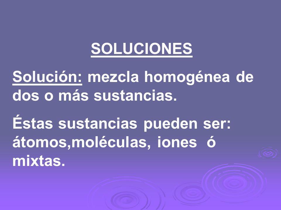 SOLUCIONES Solución: mezcla homogénea de dos o más sustancias. Éstas sustancias pueden ser: átomos,moléculas, iones ó mixtas.