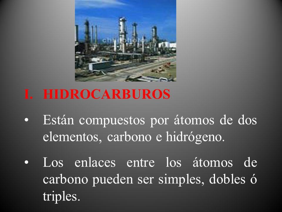 I.HIDROCARBUROS Están compuestos por átomos de dos elementos, carbono e hidrógeno. Los enlaces entre los átomos de carbono pueden ser simples, dobles
