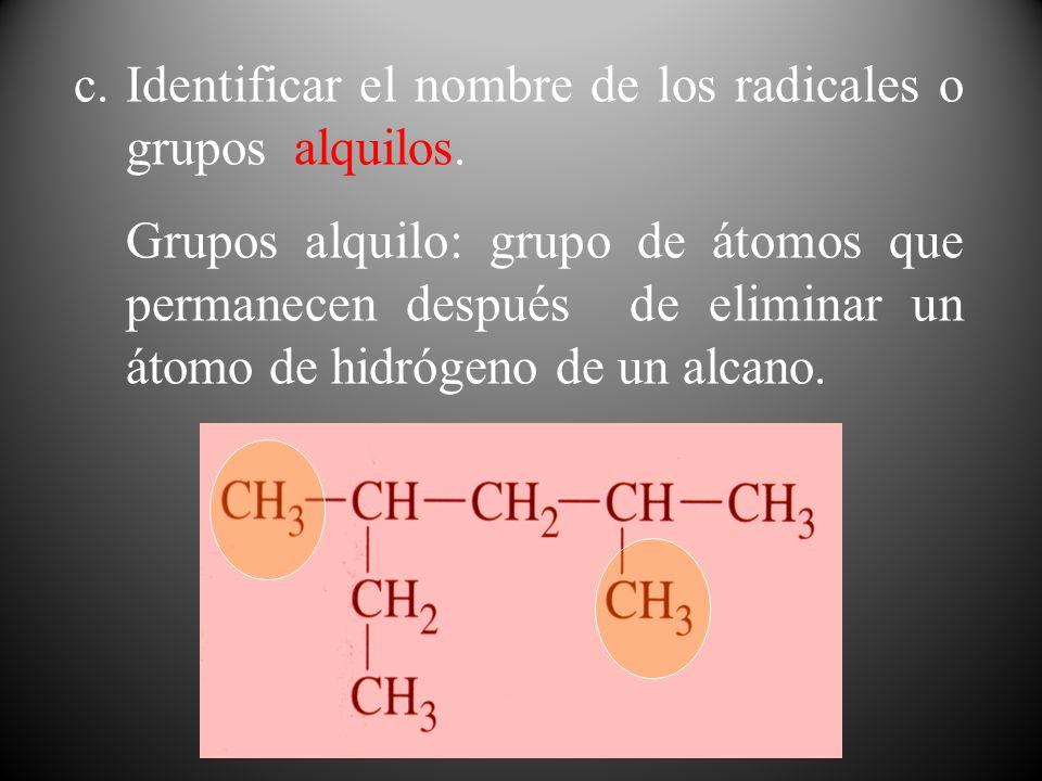 c.Identificar el nombre de los radicales o grupos alquilos. Grupos alquilo: grupo de átomos que permanecen después de eliminar un átomo de hidrógeno d