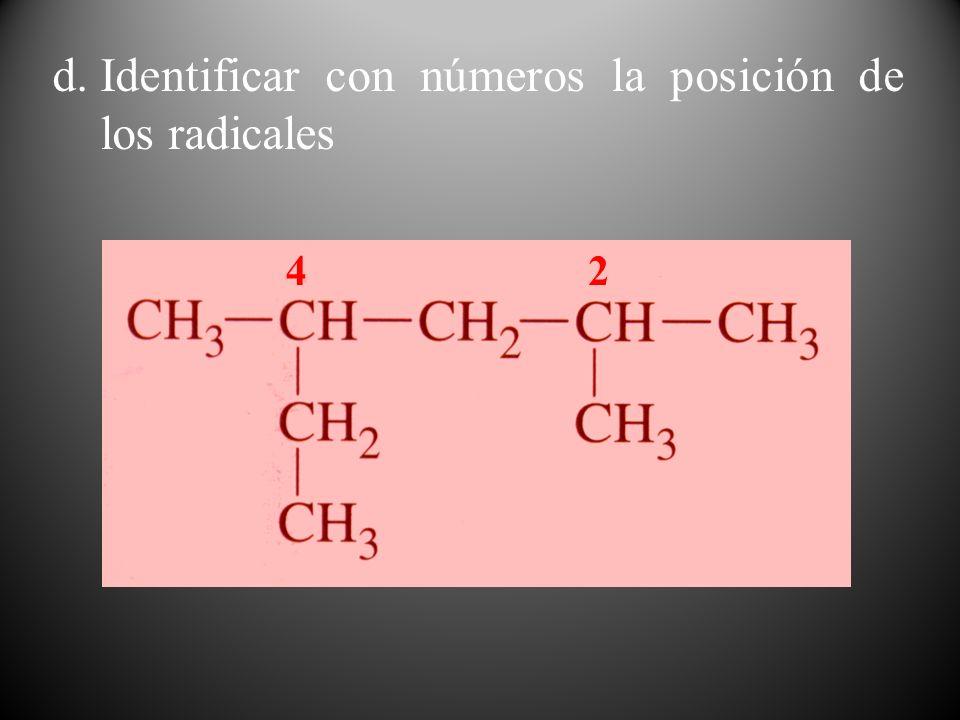 d.Identificar con números la posición de los radicales 24