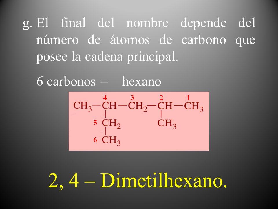 g.El final del nombre depende del número de átomos de carbono que posee la cadena principal. 6 carbonos = hexano 1 2 34 5 6 2, 4 – Dimetilhexano.