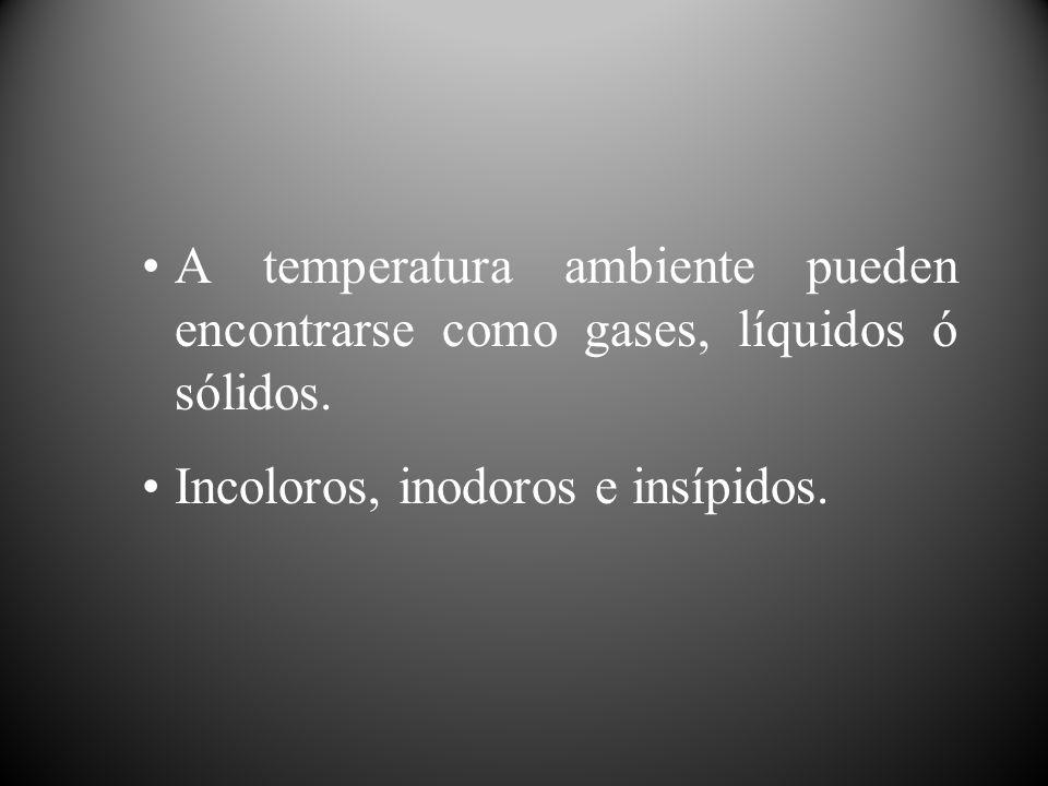 A temperatura ambiente pueden encontrarse como gases, líquidos ó sólidos. Incoloros, inodoros e insípidos.