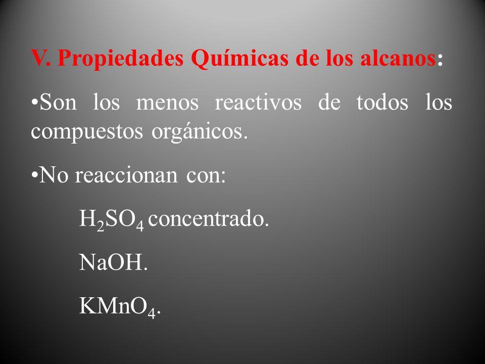V. Propiedades Químicas de los alcanos: Son los menos reactivos de todos los compuestos orgánicos. No reaccionan con: H 2 SO 4 concentrado. NaOH. KMnO