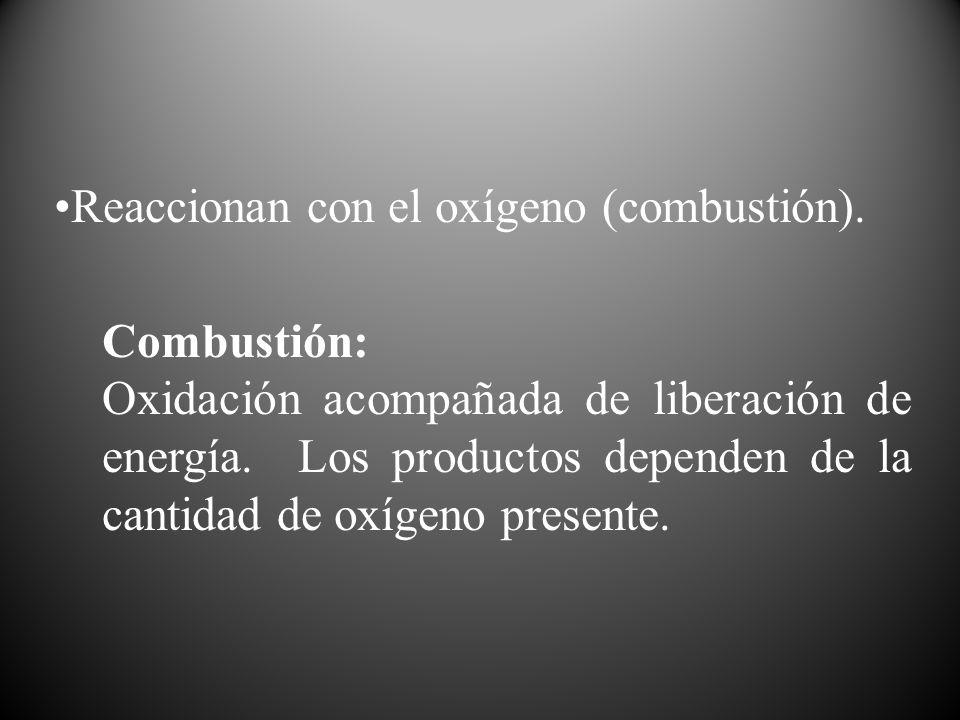 Reaccionan con el oxígeno (combustión). Combustión: Oxidación acompañada de liberación de energía. Los productos dependen de la cantidad de oxígeno pr
