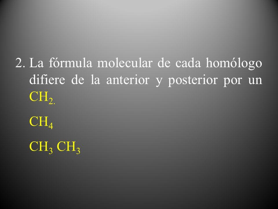 2.La fórmula molecular de cada homólogo difiere de la anterior y posterior por un CH 2. CH 4 CH 3