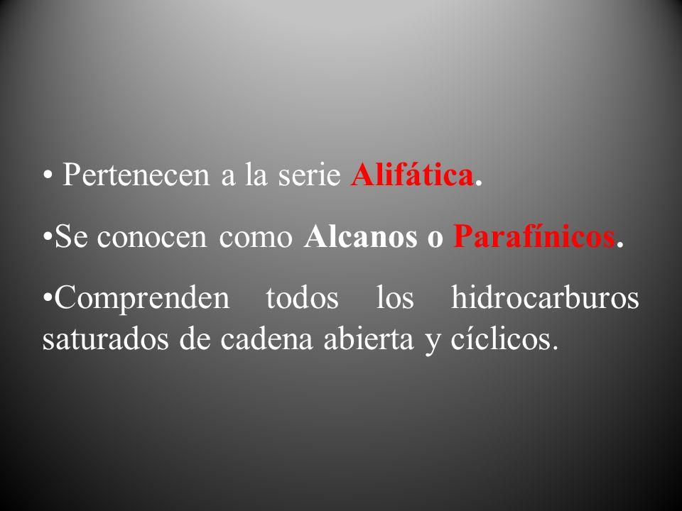 Pertenecen a la serie Alifática.Se conocen como Alcanos o Parafínicos.