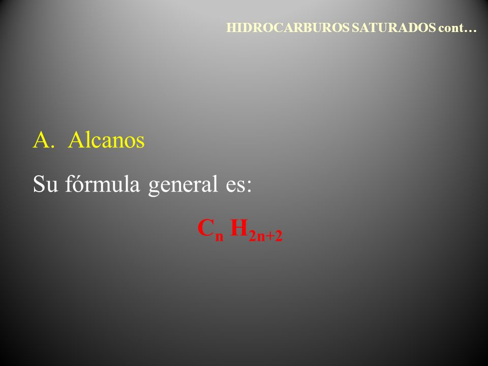 A. Alcanos Su fórmula general es: C n H 2n+2 HIDROCARBUROS SATURADOS cont…
