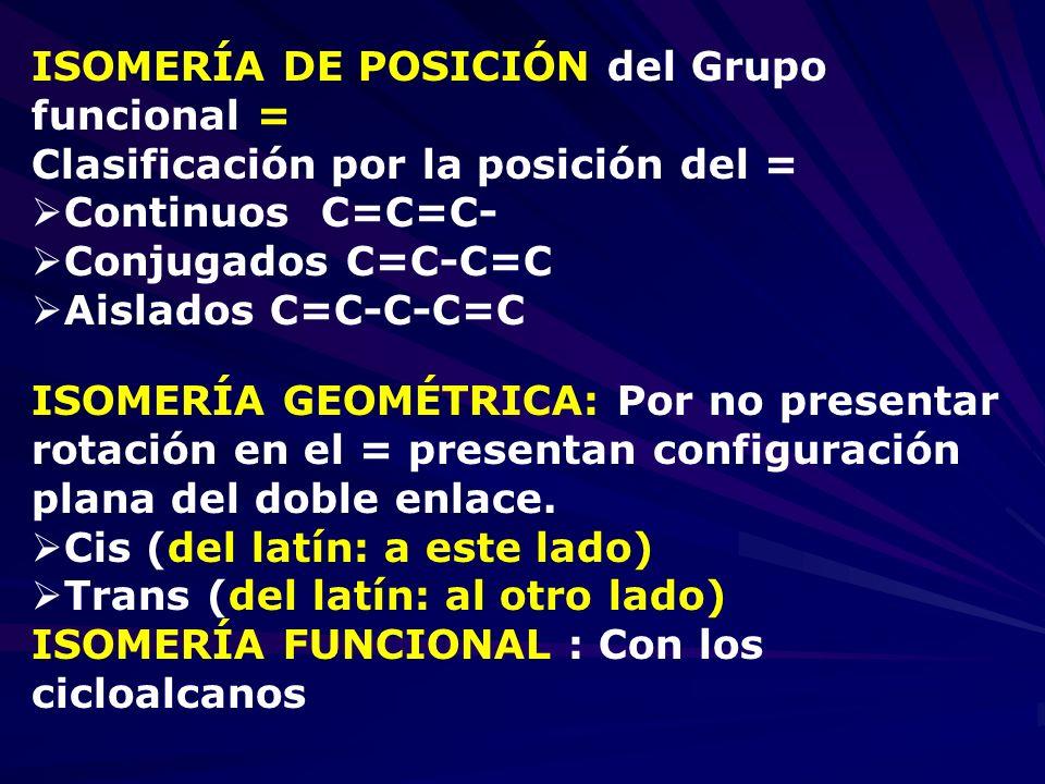 ISOMERÍA DE POSICIÓN del Grupo funcional = Clasificación por la posición del = Continuos C=C=C- Conjugados C=C-C=C Aislados C=C-C-C=C ISOMERÍA GEOMÉTR