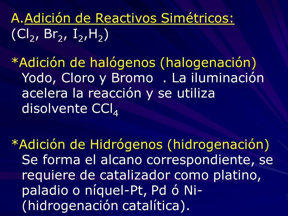 A.Adición de Reactivos Simétricos: (Cl 2, Br 2, I 2,H 2 ) *Adición de halógenos (halogenación) Yodo, Cloro y Bromo. La iluminación acelera la reacción