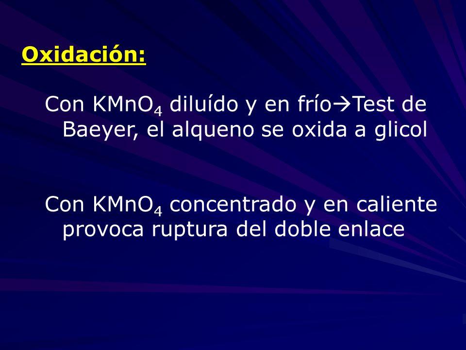 Oxidación: Con KMnO 4 diluído y en frío Test de Baeyer, el alqueno se oxida a glicol Con KMnO 4 concentrado y en caliente provoca ruptura del doble en