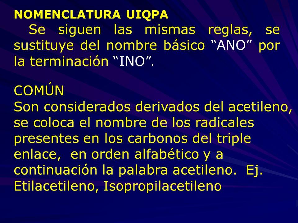 NOMENCLATURA UIQPA Se siguen las mismas reglas, se sustituye del nombre básico ANO por la terminación INO. COMÚN Son considerados derivados del acetil