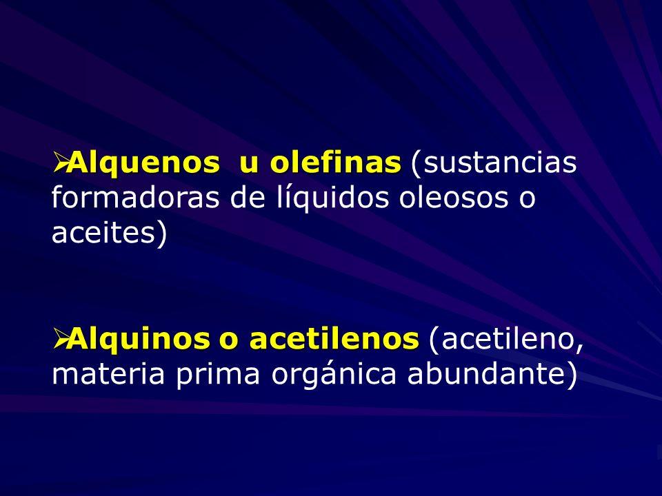 Alquenos u olefinas Alquenos u olefinas (sustancias formadoras de líquidos oleosos o aceites) Alquinos o acetilenos Alquinos o acetilenos (acetileno,