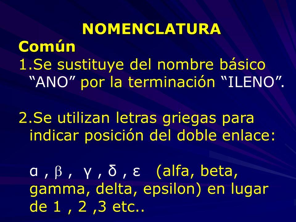 NOMENCLATURAComún 1.Se sustituye del nombre básico ANO por la terminación ILENO. 2.Se utilizan letras griegas para indicar posición del doble enlace:
