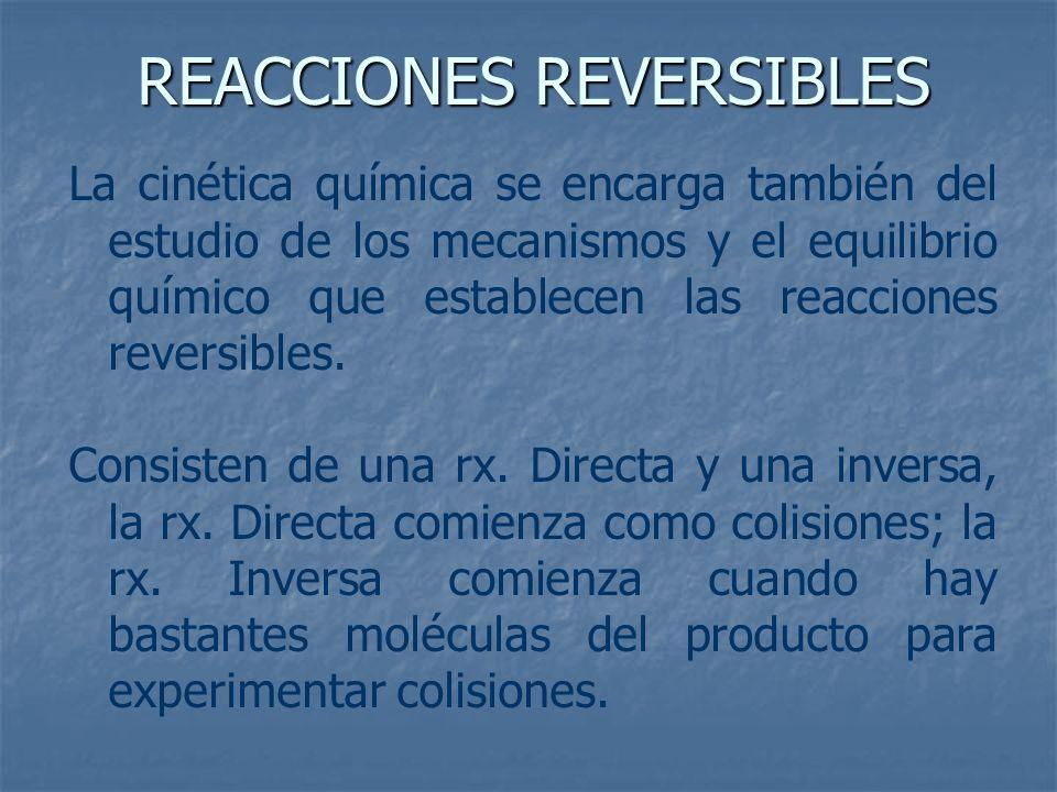 La cinética química se encarga también del estudio de los mecanismos y el equilibrio químico que establecen las reacciones reversibles. Consisten de u