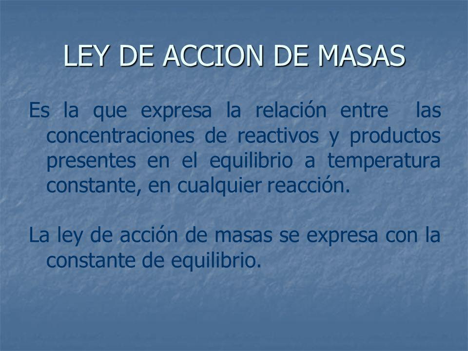 LEY DE ACCION DE MASAS Es la que expresa la relación entre las concentraciones de reactivos y productos presentes en el equilibrio a temperatura const