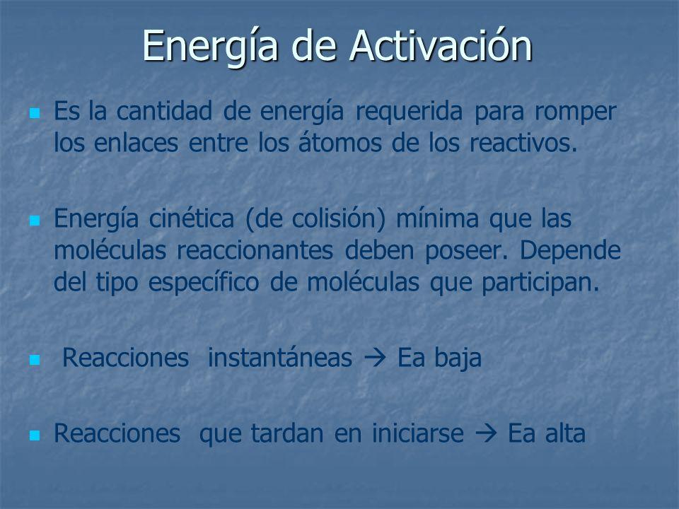 Energía de Activación Es la cantidad de energía requerida para romper los enlaces entre los átomos de los reactivos. Energía cinética (de colisión) mí