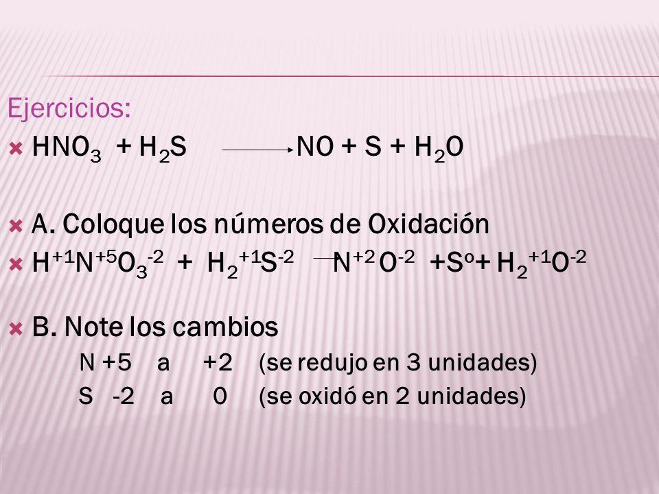 Ejercicios: HNO 3 + H 2 S NO + S + H 2 O A. Coloque los números de Oxidación H +1 N +5 O 3 -2 + H 2 +1 S -2 N +2 O -2 +S o + H 2 +1 O -2 B. Note los c