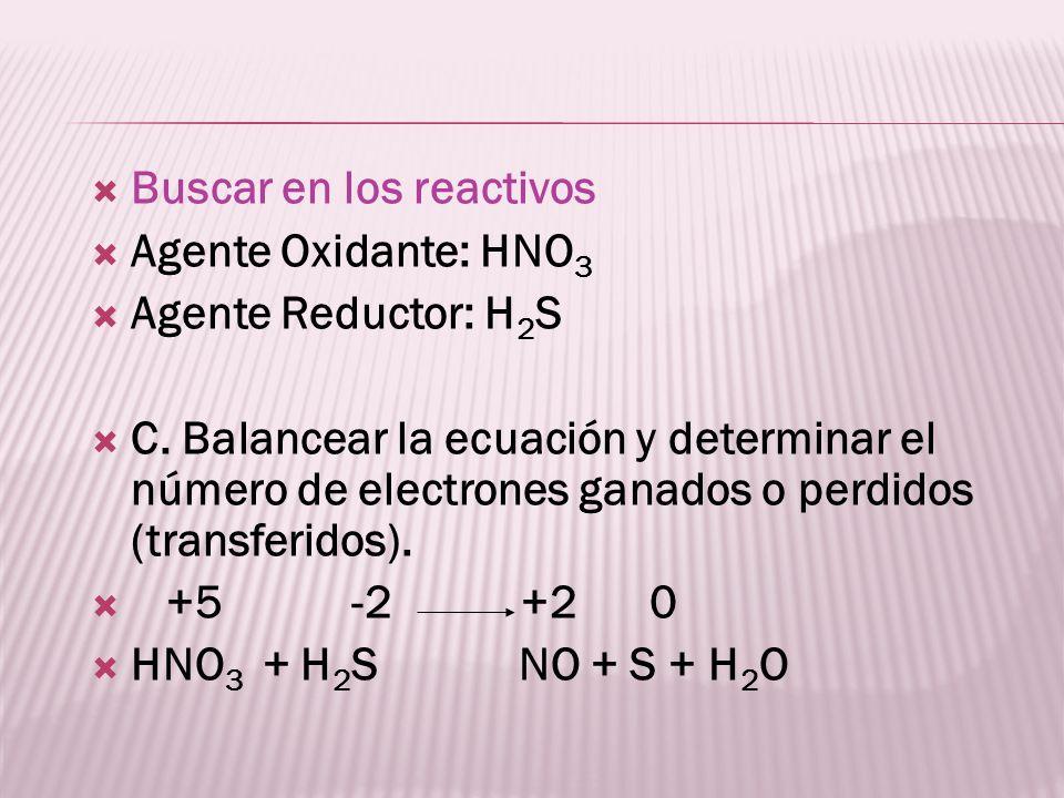 Buscar en los reactivos Agente Oxidante: HNO 3 Agente Reductor: H 2 S C. Balancear la ecuación y determinar el número de electrones ganados o perdidos
