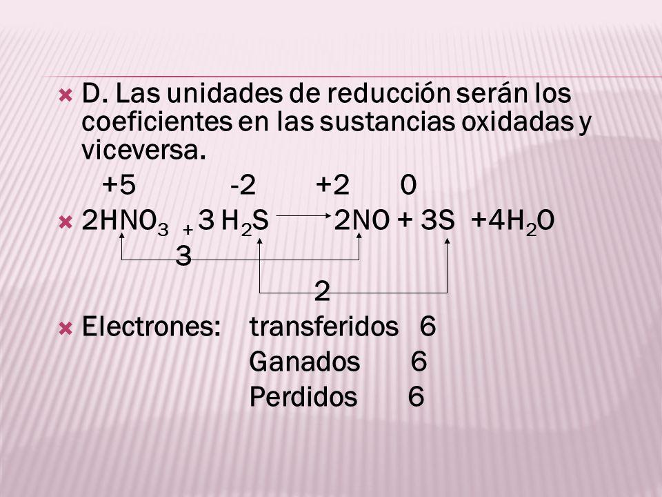 D. Las unidades de reducción serán los coeficientes en las sustancias oxidadas y viceversa. +5 -2 +2 0 2HNO 3 + 3 H 2 S 2NO + 3S +4H 2 O 3 2 Electrone