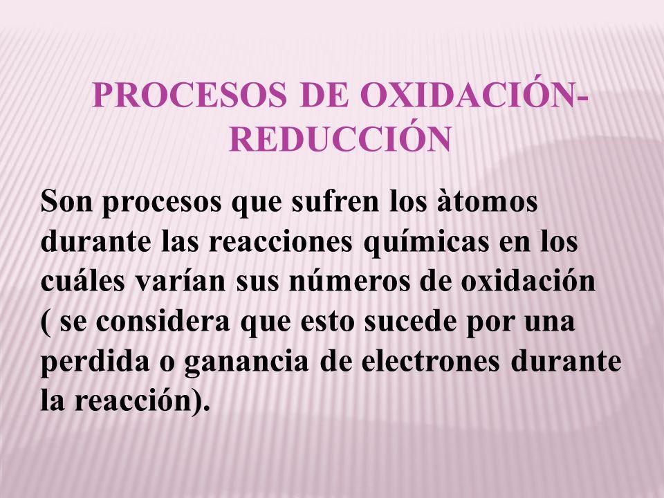 PROCESOS DE OXIDACIÓN- REDUCCIÓN Son procesos que sufren los àtomos durante las reacciones químicas en los cuáles varían sus números de oxidación ( se