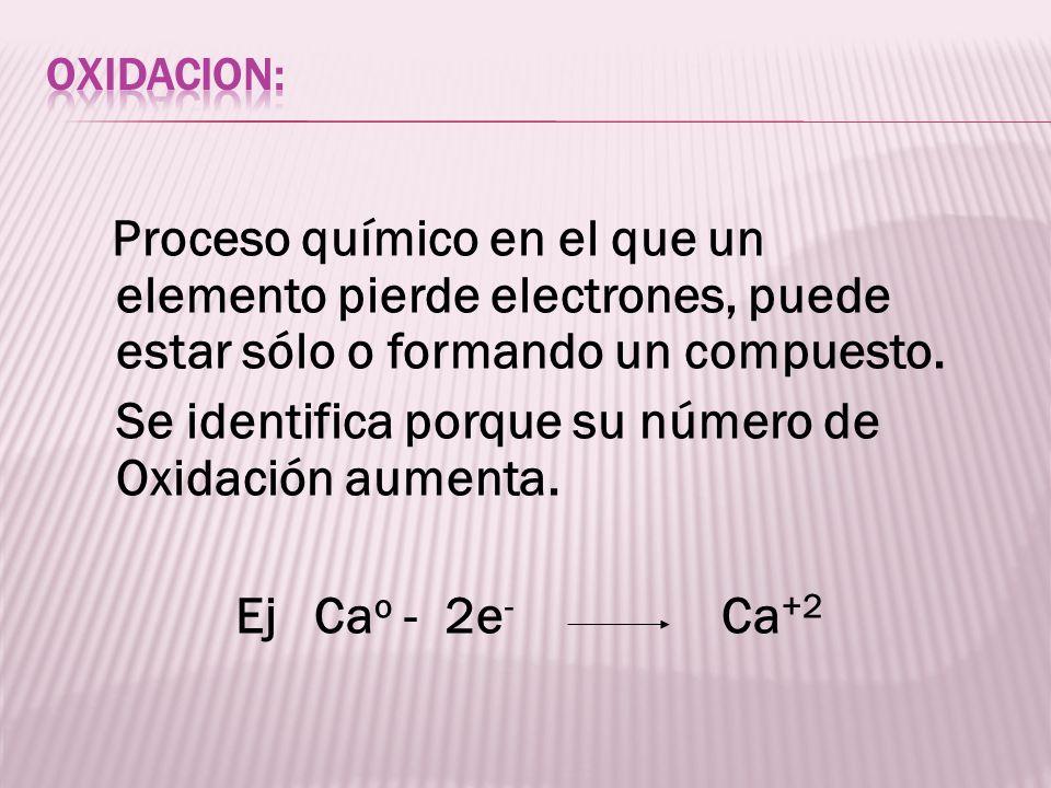 Proceso químico en el que un elemento pierde electrones, puede estar sólo o formando un compuesto. Se identifica porque su número de Oxidación aumenta