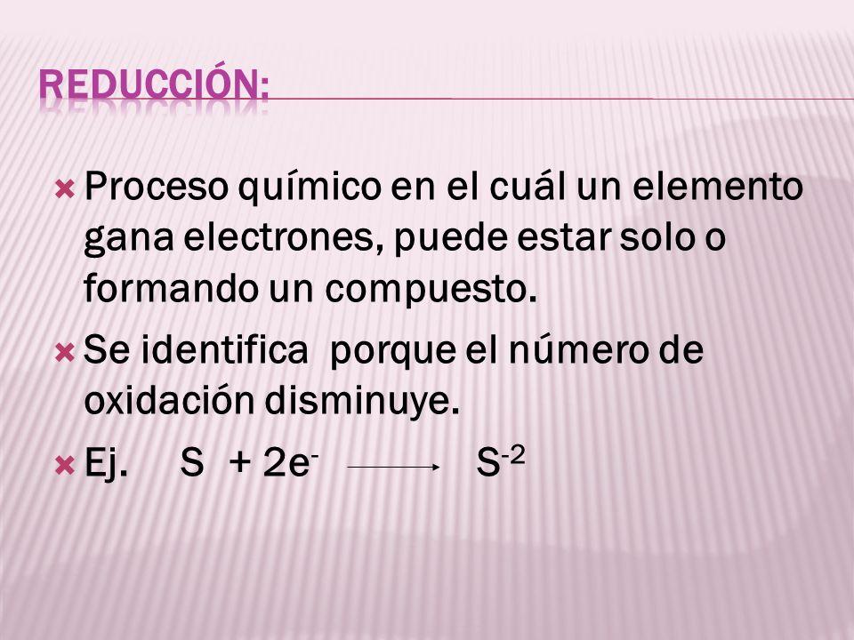 Proceso químico en el cuál un elemento gana electrones, puede estar solo o formando un compuesto. Se identifica porque el número de oxidación disminuy