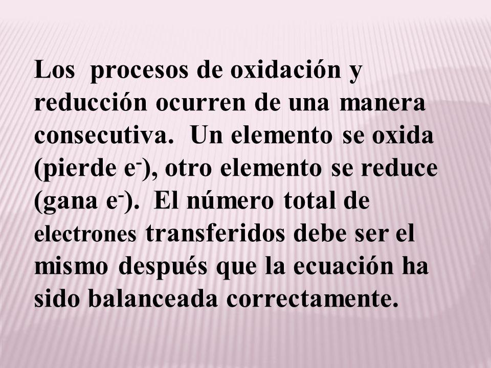Los procesos de oxidación y reducción ocurren de una manera consecutiva. Un elemento se oxida (pierde e - ), otro elemento se reduce (gana e - ). El n