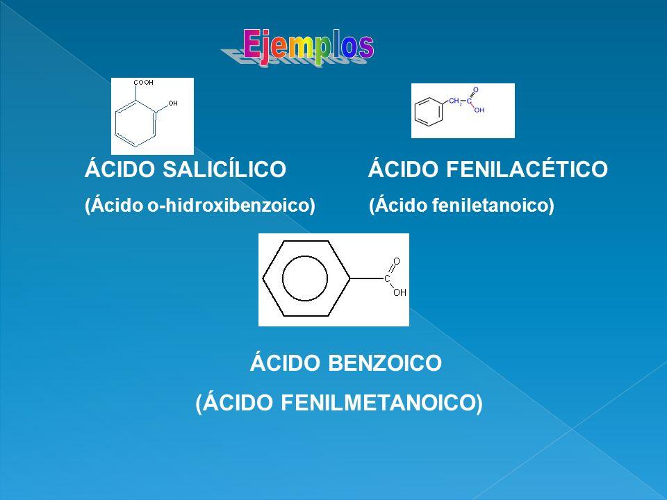 ÁCIDO SALICÍLICO ÁCIDO FENILACÉTICO (Ácido o-hidroxibenzoico) (Ácido feniletanoico) ÁCIDO BENZOICO (ÁCIDO FENILMETANOICO)