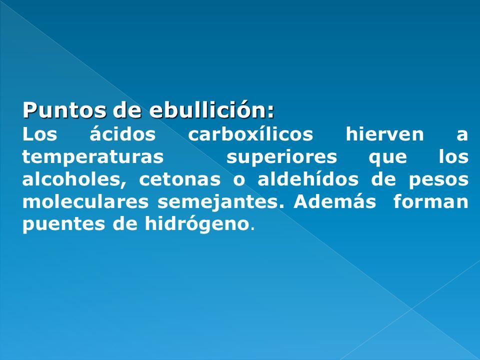 Puntos de ebullición: Los ácidos carboxílicos hierven a temperaturas superiores que los alcoholes, cetonas o aldehídos de pesos moleculares semejantes