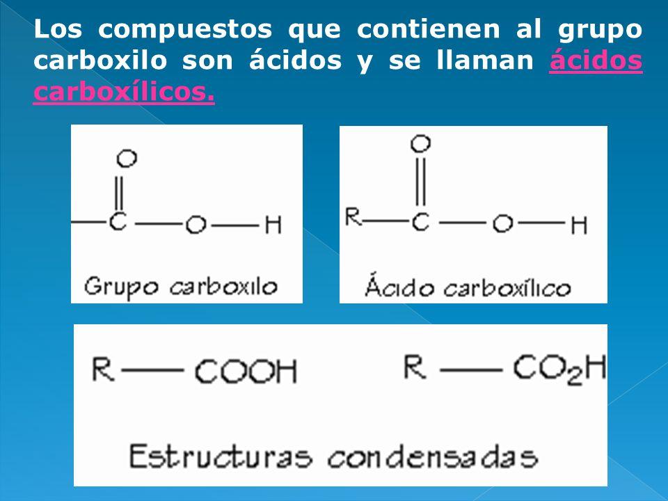 Los compuestos que contienen al grupo carboxilo son ácidos y se llaman ácidos carboxílicos.