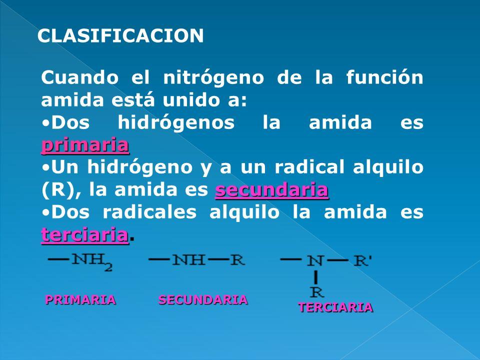 CLASIFICACION Cuando el nitrógeno de la función amida está unido a: primariaDos hidrógenos la amida es primaria secundariaUn hidrógeno y a un radical