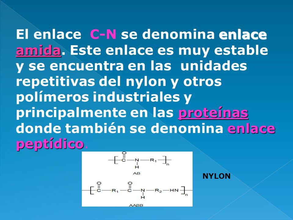 enlace amida proteínas enlace peptídico El enlace C-N se denomina enlace amida. Este enlace es muy estable y se encuentra en las unidades repetitivas