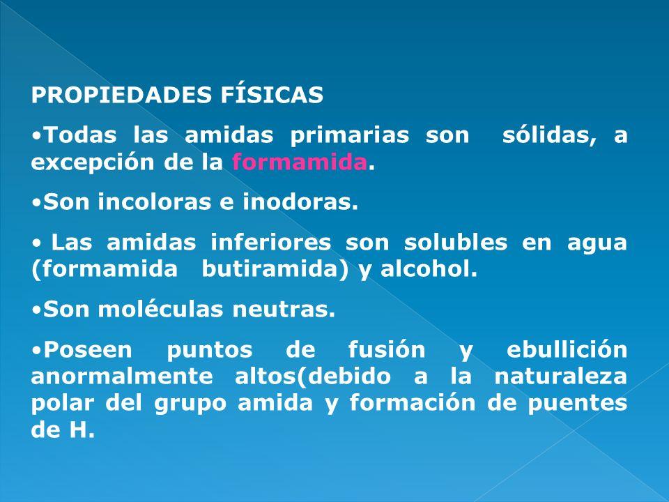 PROPIEDADES FÍSICAS Todas las amidas primarias son sólidas, a excepción de la formamida. Son incoloras e inodoras. Las amidas inferiores son solubles