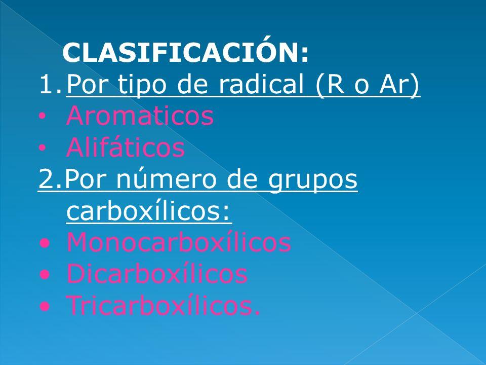 CLASIFICACIÓN: 1.Por tipo de radical (R o Ar) Aromaticos Alifáticos 2.Por número de grupos carboxílicos: Monocarboxílicos Dicarboxílicos Tricarboxílic