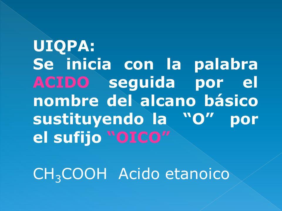 UIQPA: Se inicia con la palabra ACIDO seguida por el nombre del alcano básico sustituyendo la O por el sufijo OICO CH 3 COOH Acido etanoico