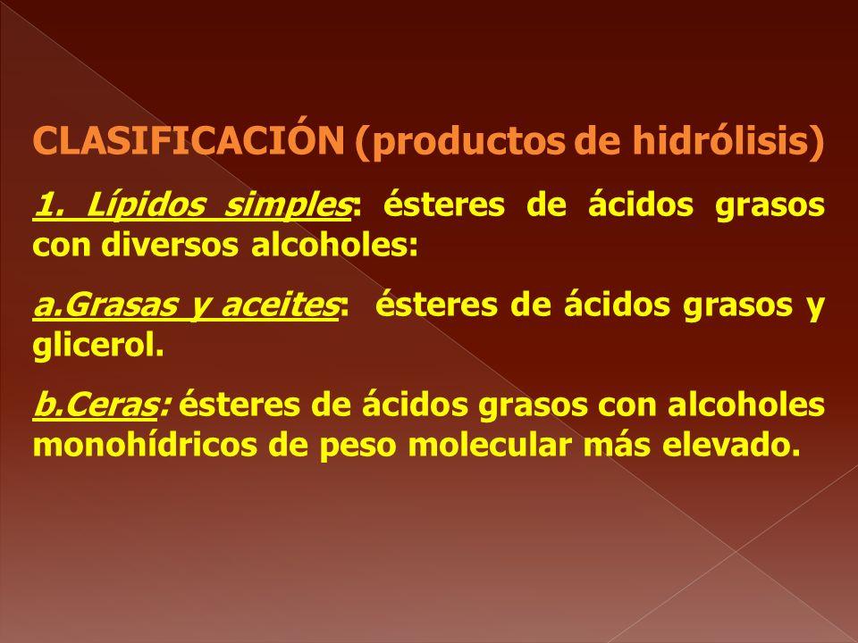 CLASIFICACIÓN (productos de hidrólisis) 1. Lípidos simples: ésteres de ácidos grasos con diversos alcoholes: a.Grasas y aceites: ésteres de ácidos gra