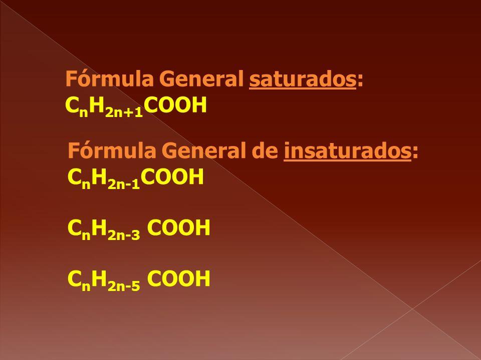 Fórmula General saturados: C n H 2n+1 COOH Fórmula General de insaturados: C n H 2n-1 COOH C n H 2n-3 COOH C n H 2n-5 COOH