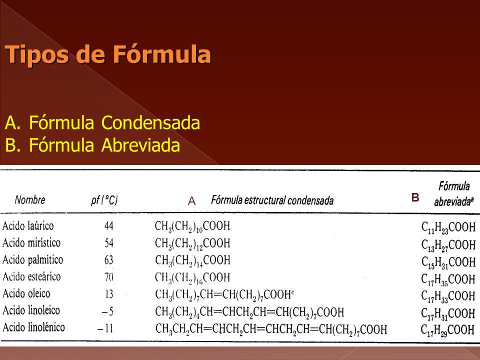 Tipos de Fórmula A.Fórmula Condensada B.Fórmula Abreviada A B