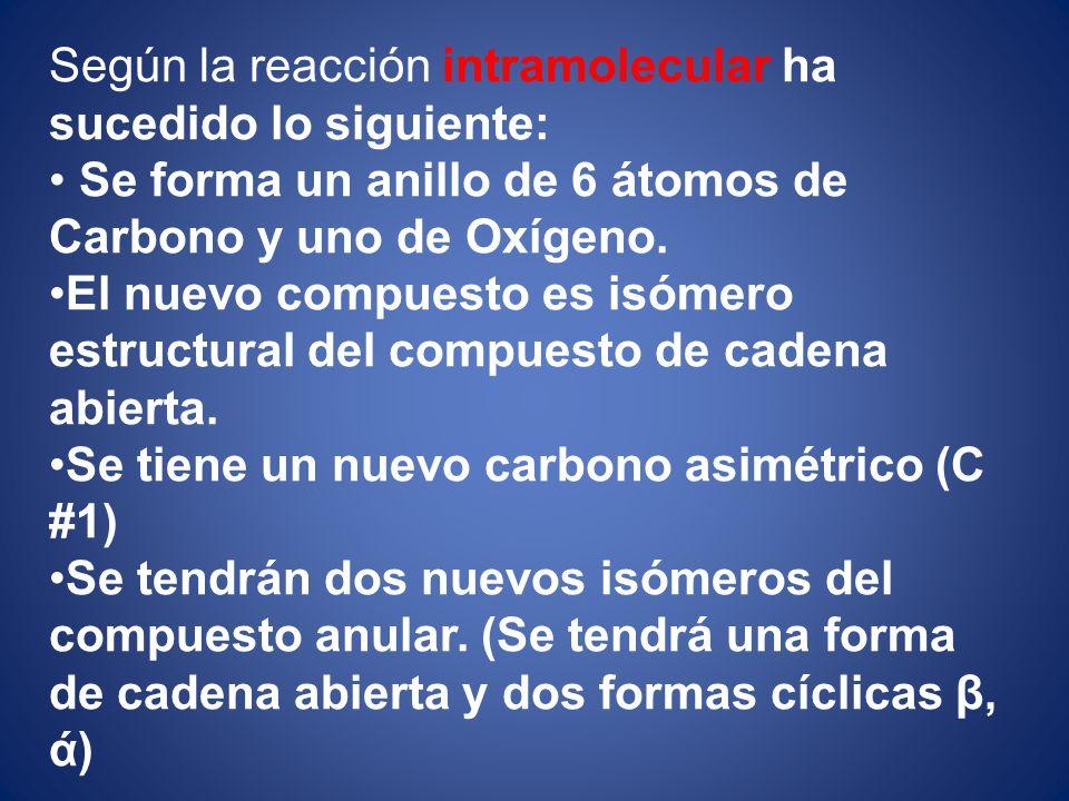Según la reacción intramolecular ha sucedido lo siguiente: Se forma un anillo de 6 átomos de Carbono y uno de Oxígeno. El nuevo compuesto es isómero e