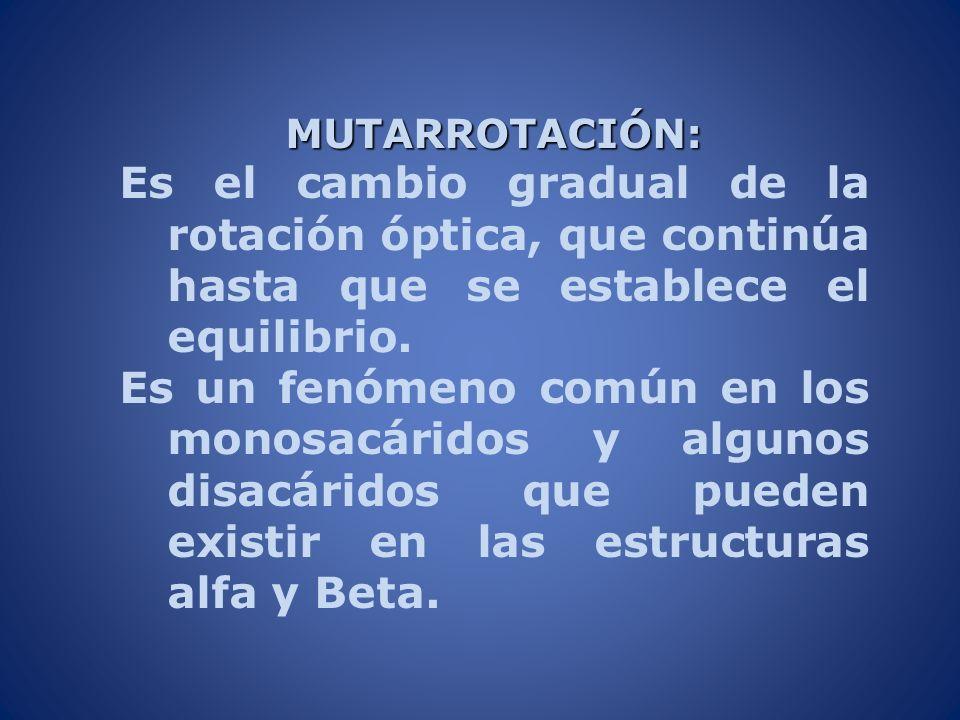 MUTARROTACIÓN: Es el cambio gradual de la rotación óptica, que continúa hasta que se establece el equilibrio. Es un fenómeno común en los monosacárido