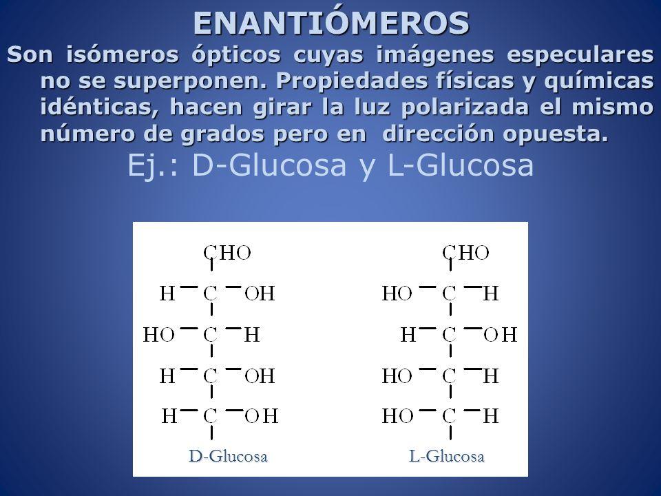 ENANTIÓMEROS Son isómeros ópticos cuyas imágenes especulares no se superponen. Propiedades físicas y químicas idénticas, hacen girar la luz polarizada