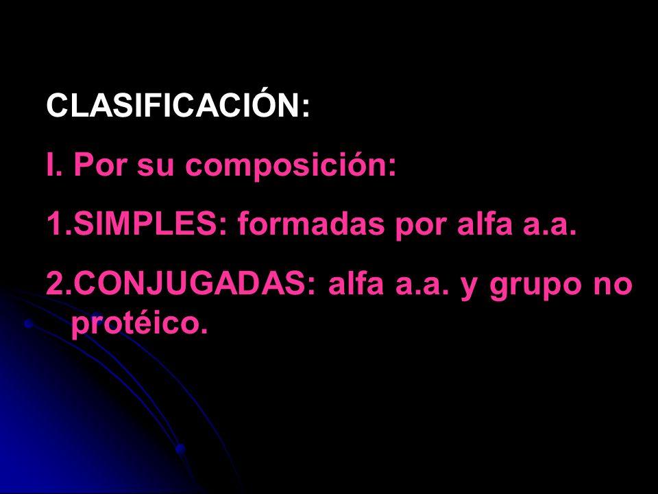 CLASIFICACIÓN: I. Por su composición: 1.SIMPLES: formadas por alfa a.a. 2.CONJUGADAS: alfa a.a. y grupo no protéico.