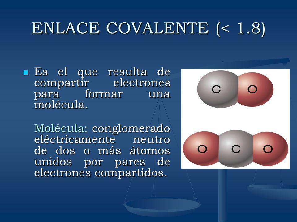 ENLACE COVALENTE (< 1.8) Es el que resulta de compartir electrones para formar una molécula. Es el que resulta de compartir electrones para formar una