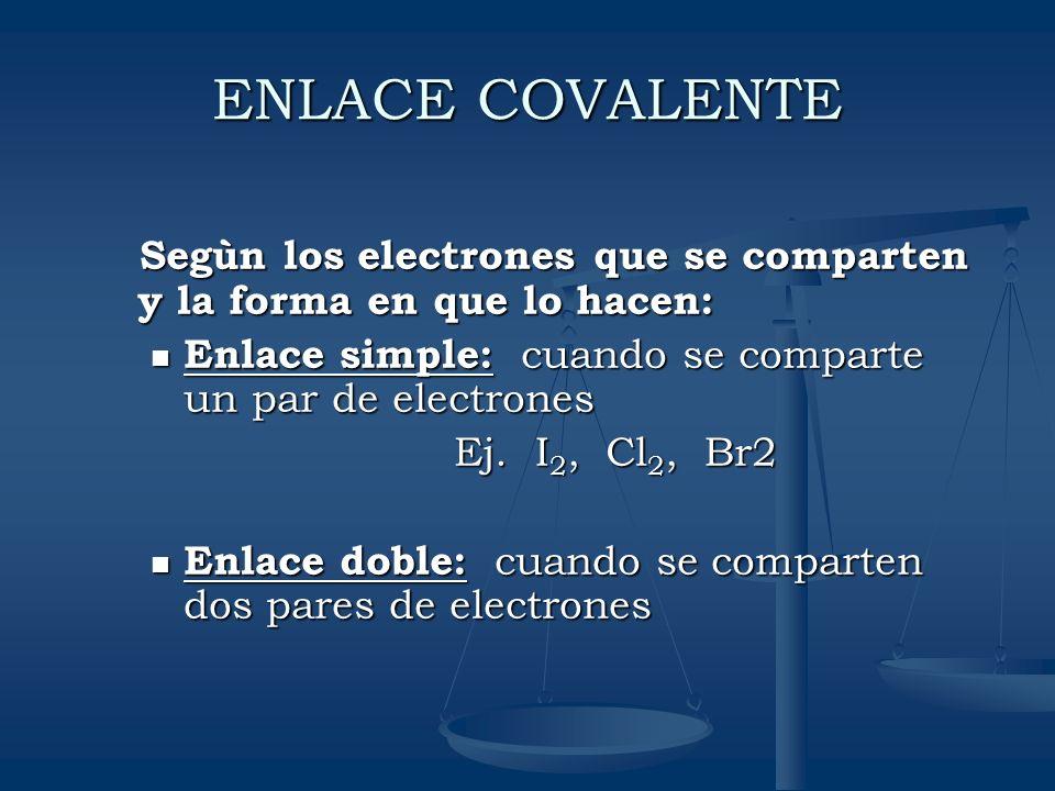 ENLACE COVALENTE Segùn los electrones que se comparten y la forma en que lo hacen: Segùn los electrones que se comparten y la forma en que lo hacen: E