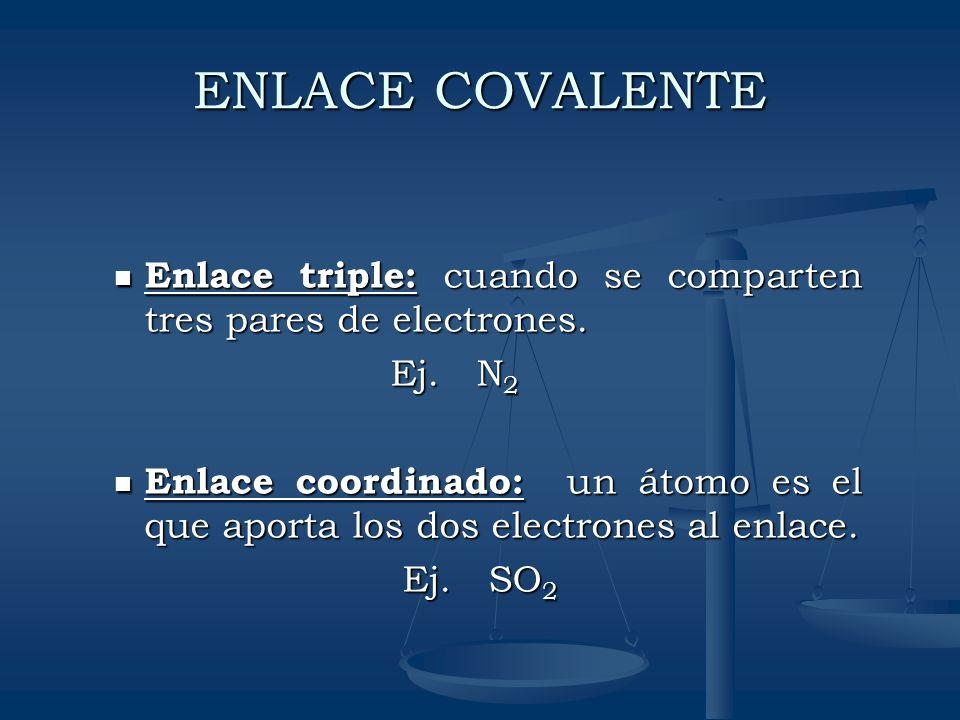 ENLACE COVALENTE Enlace triple: cuando se comparten tres pares de electrones. Enlace triple: cuando se comparten tres pares de electrones. Ej. N 2 Ej.