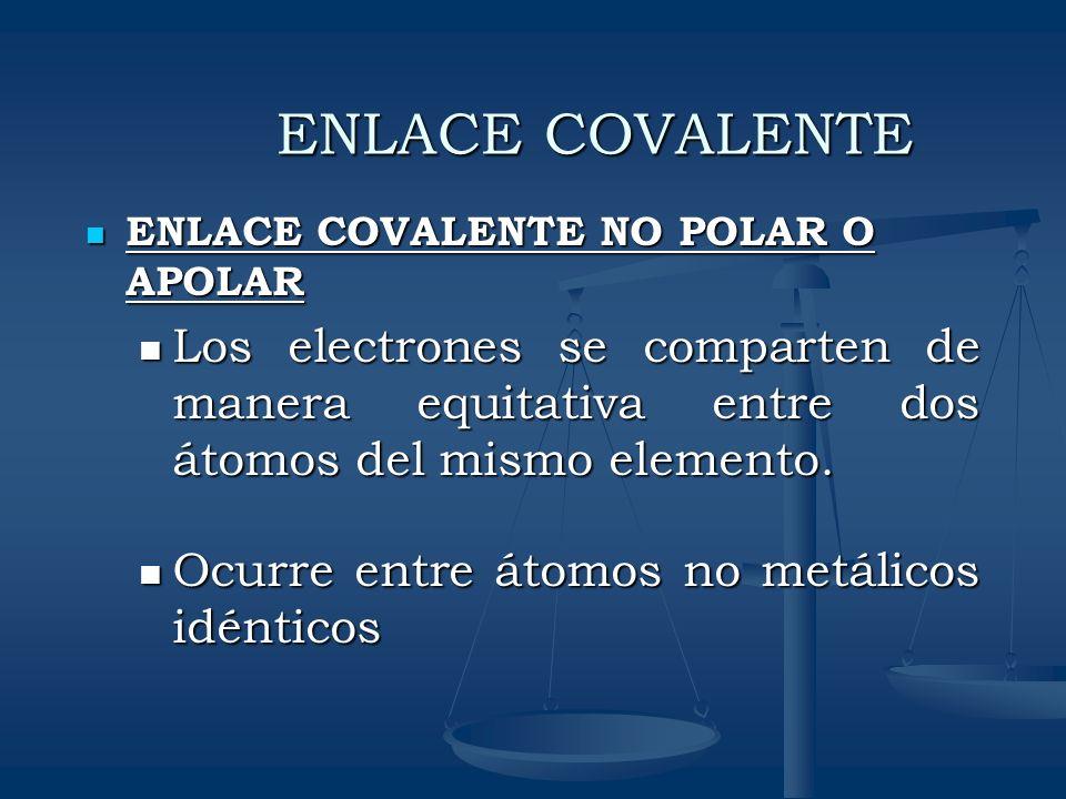 ENLACE COVALENTE ENLACE COVALENTE ENLACE COVALENTE NO POLAR O APOLAR ENLACE COVALENTE NO POLAR O APOLAR Los electrones se comparten de manera equitati